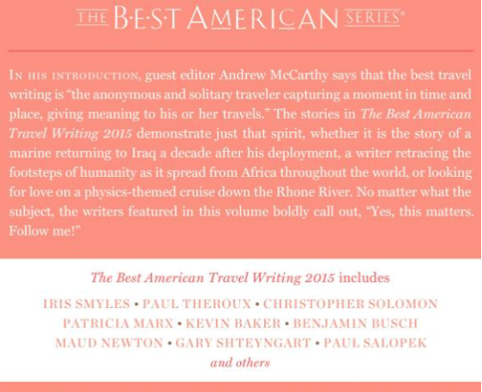 Best American Travel Writing 2015 edited by Andrew McCarthy and Jason Wilson