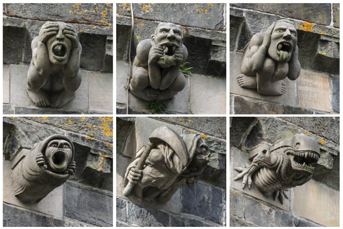 Former Gargoyles of Paisley Abbey, including see no evil, hear no evil, and speak no evil gargoyles. Found at Wikimedia Commons.
